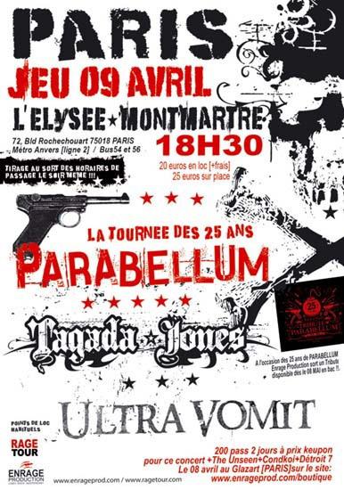 Ultra Vomit + Parabellum + Tagada Jones @ Elysée Montmartre (Paris),  09 Avril 2009