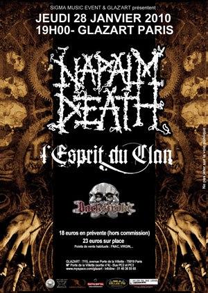 Napalm Death + L'Esprit du Clan @ Glaz'art (Paris), le 28 Janvier 2010