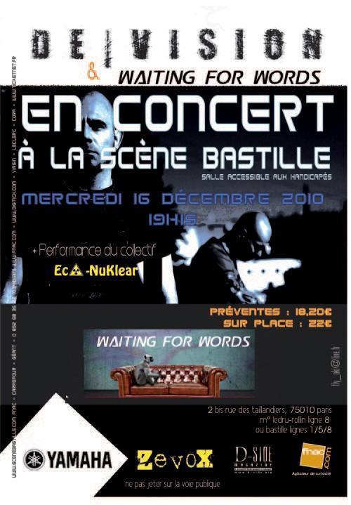 De/Vision + Waiting For Words @ Scène Bastille (Paris), le 16 Décembre 2010