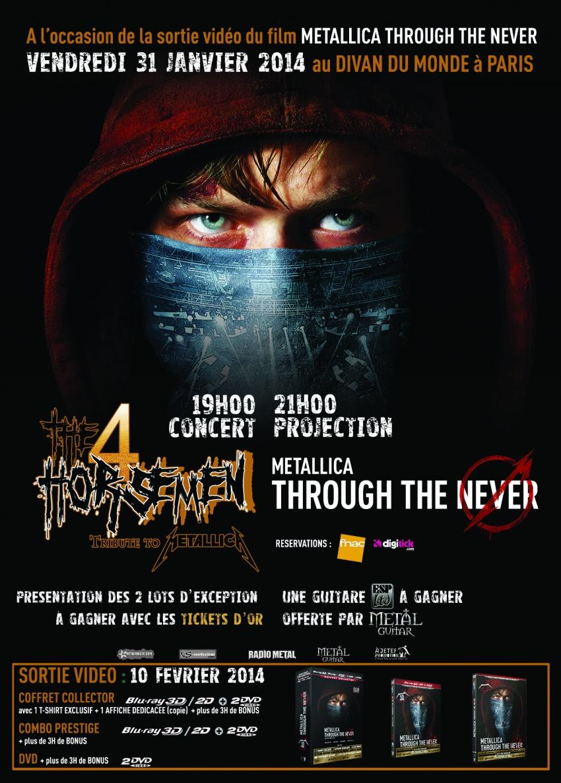The 4 Horsemen + Metallica «Through The Never» au Divan du Monde (Paris), le 31 Janvier 2014