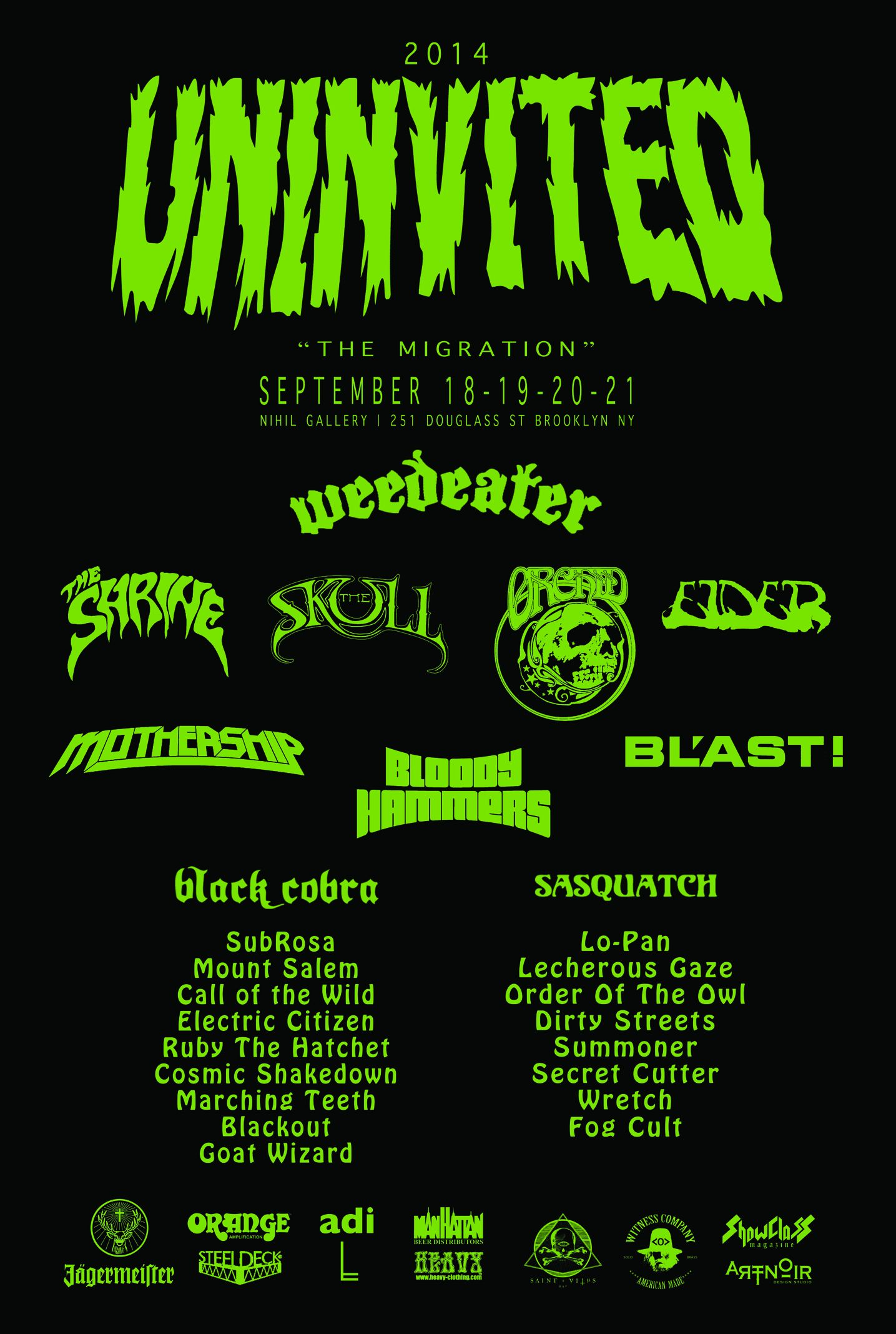 Uninvited Festival @ Brooklyn, New York, le 18 Septembre 2014