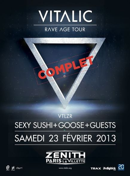 Vitalic + Sexy Sushi + Goose @ Zenith (Paris), le 23 Février 2013