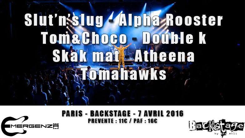 Slut'N'Slug @ Backstage By The Mill (Paris), le 7 Avril 2016