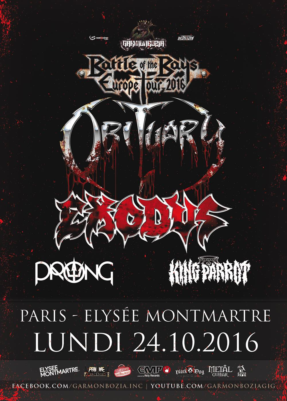 Obituary + Exodus + Prong @ Elysée Montmartre (Paris), le 24 Octobre 2016
