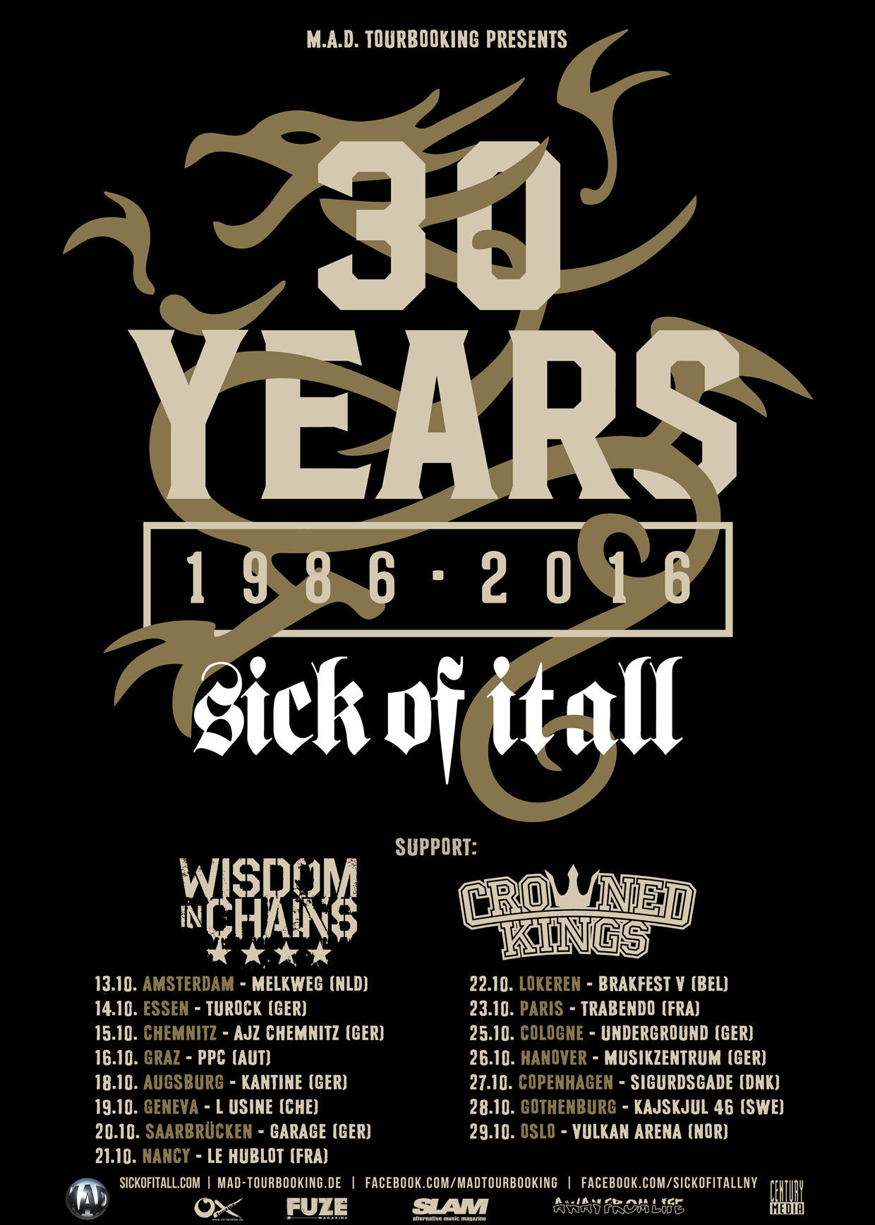 Sick Of It All + Black Bomb A @ Trabendo (Paris), le 23 Octobre 2016