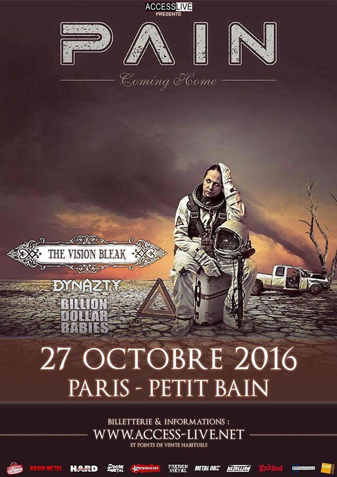 Pain + The Vision Bleak + Dynazty + Billion Dollar Babies @ Petit Bain (Paris), le 27 Octobre 2016