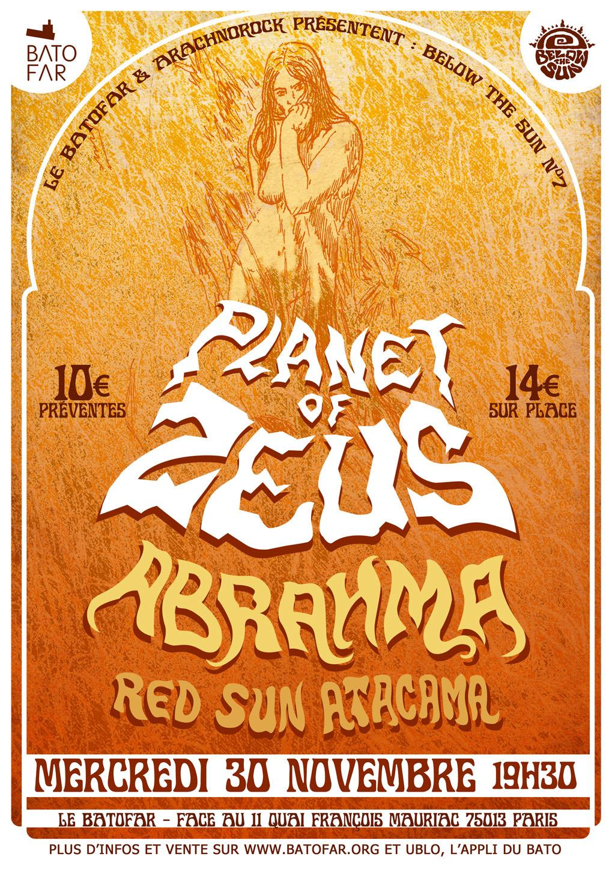 Planet Of Zeus + Abrahma + Red Sun Acatama @ Batofar (Paris), le 30 Novembre 2016