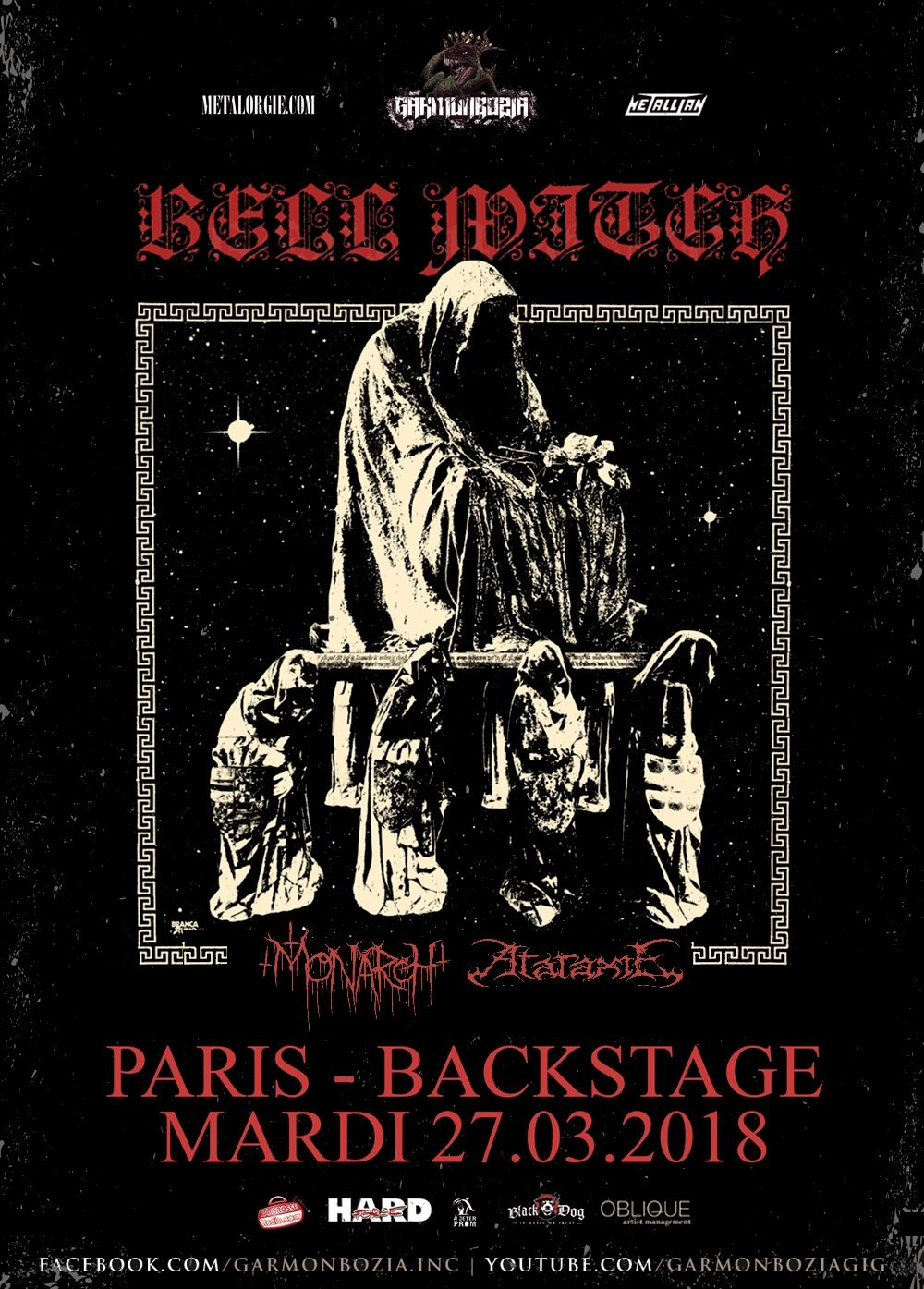 Bell Witch + Monarch! + Ataraxie @ O'Sullivans Backstage by The Mill (Paris), le 27 Mars 2018
