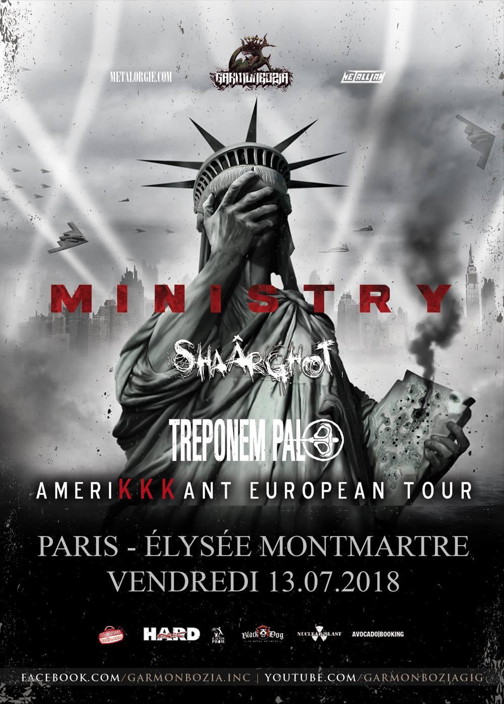 Ministry + Shaârghot + Treponem Pal @ Elysée Montmartre (Paris), le 13 Juillet 2018