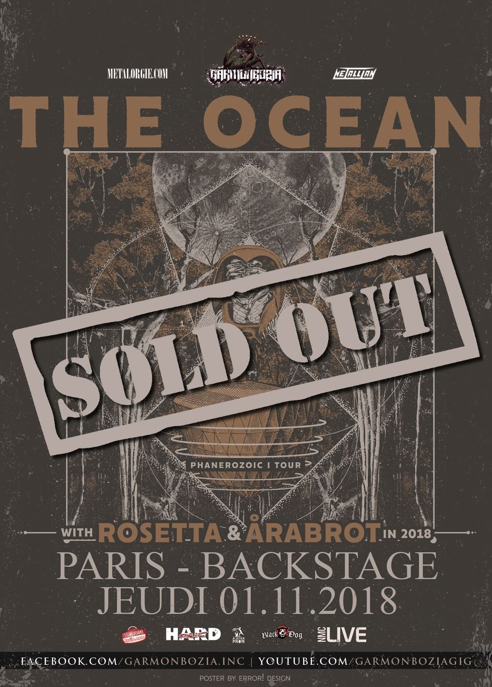 The Ocean + Rosetta + Arabrot @ O'Sullivans Backstage By The Mills (Paris), le 1er Novembre 2018