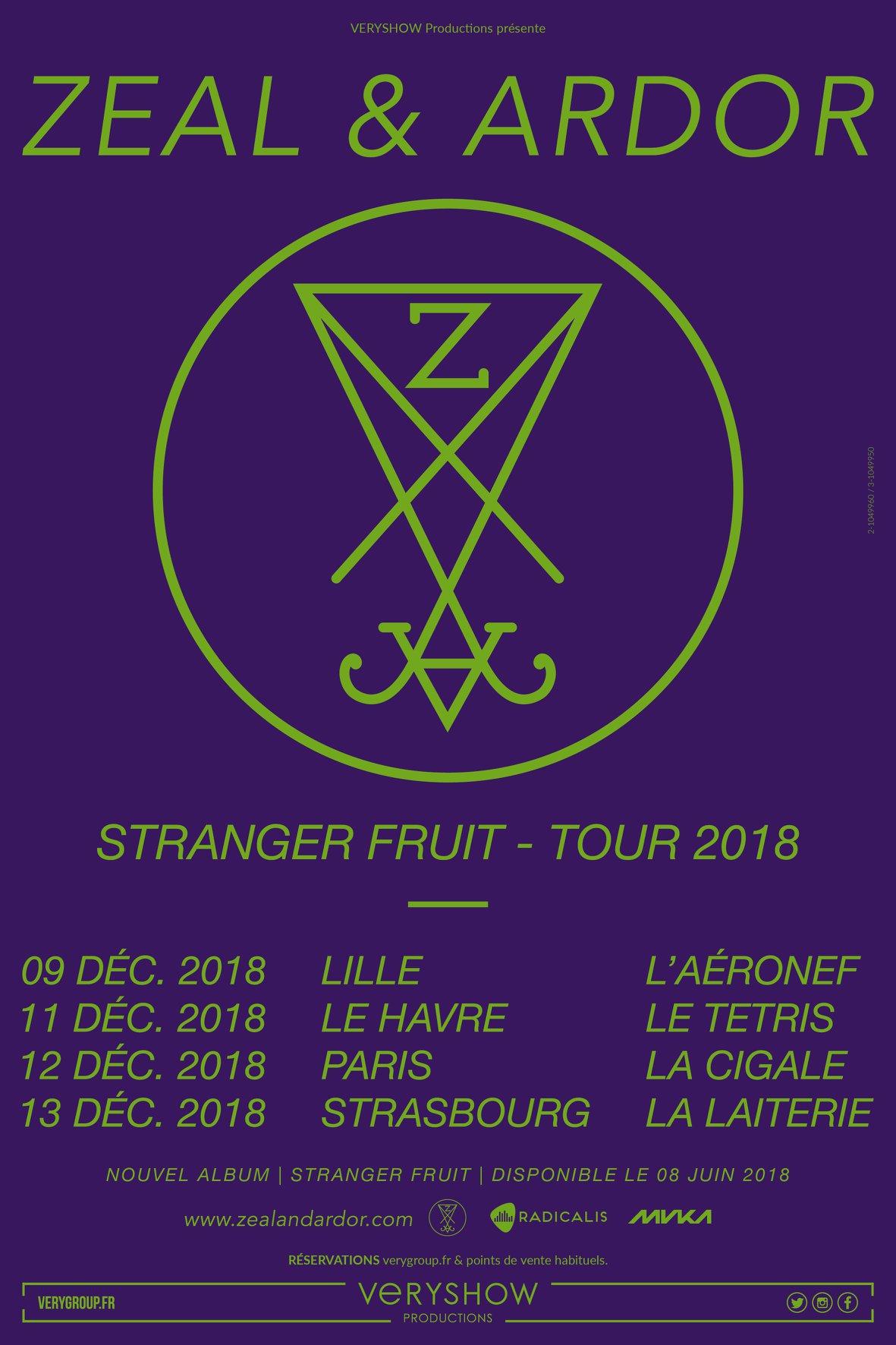 Zeal & Ardor + Hangman's Chair @ la Cigale (Paris), le 12 Décembre 2018