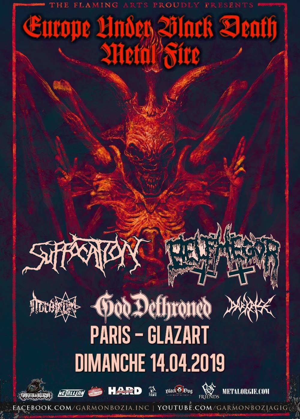 Suffocation + Belphegor + God Dethroned + Nordjevel @ Glazart (Paris), le 14 Avril 2019