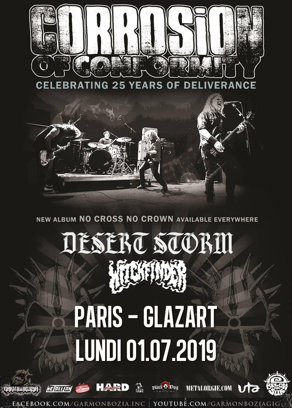 Corrosion of Conformity + Desert Storm + Witchfinder @ Glazart (Paris), le 1er Juillet 2019