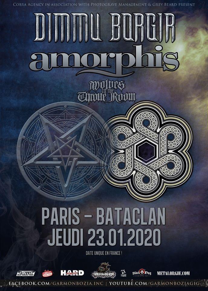 Dimmu Borgir + Amorphis + Wolves In The Throne Room @ Bataclan (Paris) le 23 Janvier 2020