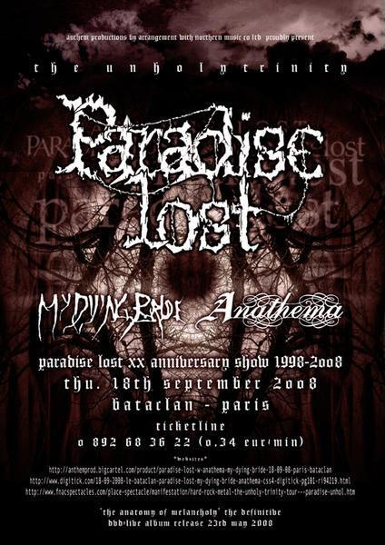 Paradise Lost + My Dying Bride + Anathema @ Bataclan (Paris) le 18 Septembre 2008