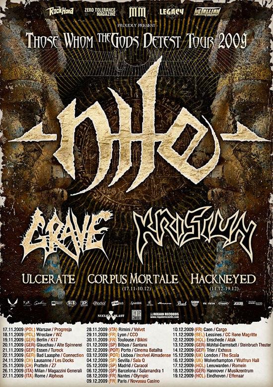 Nile + Grave + Krisiun + Ulcerate @ C.C.O. (Villeurbanne), le 29 Novembre 2009