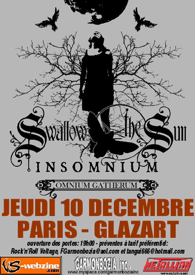 Swallow The Sun + Insomnium + Omnium Gatherum @ Glazart (Paris), le 10 Décembre 2009
