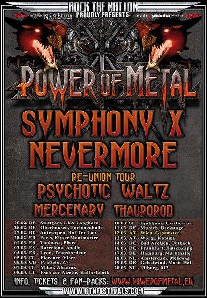 Power Of Metal Tour : Symphony X + Nevermore + Psychotic Waltz @ Elysée Montmartre (Paris), le 28 février 2011