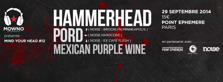 Hammerhead + Pord + Mexican Purple Wine @ Point Ephémére (Paris), le 29 Septembre 2014