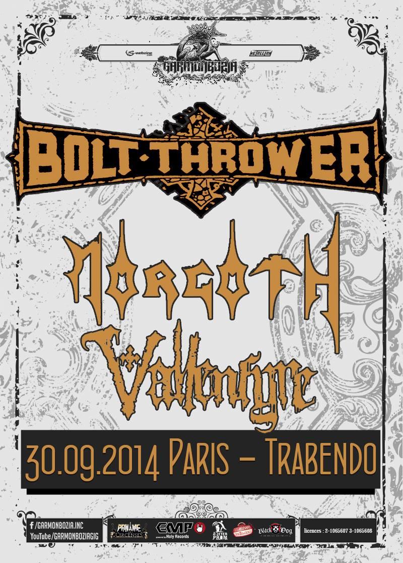 Bolt Thrower + Morgoth @ Trabendo (Paris), le 30 Septembre 2014