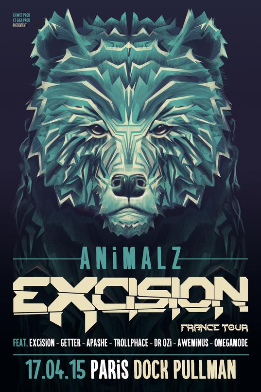 Animalz Party: Excision @ Docks d'Aubervilliers (Paris), le 17 Avril 2015