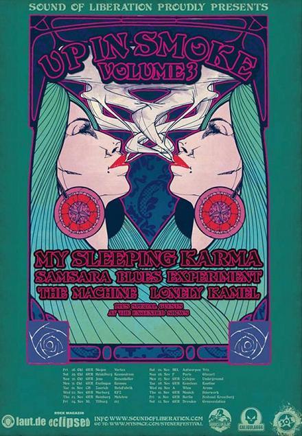 «UP IN SMOKE VOL.3» : My Sleeping Karma + Samsara Blues Experiment + Lonely Kamel + The Machine @ Glazart (Paris), le 06 Novembre 2011