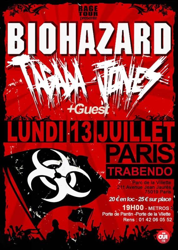 Biohazard + Tagada Jones @ Trabendo (Paris), le 13 Juillet 2015
