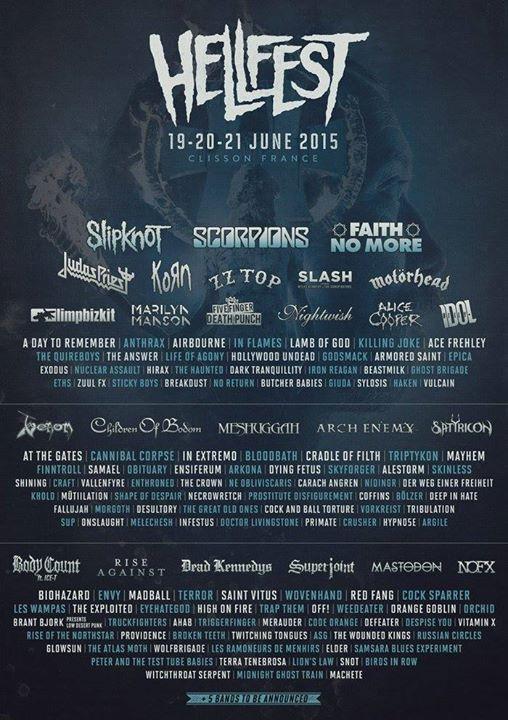 Hellfest 2015 @ Clisson, du 19 au 21 Juin 2015