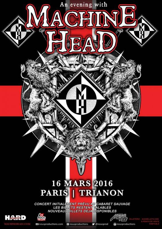 Machine Head @ Trianon (Paris), le 16 Mars 2016