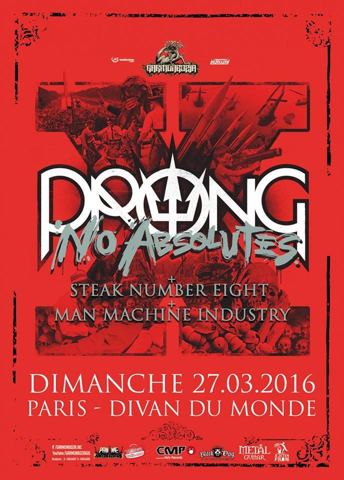 Prong + Steak Number Eight + Man.Machine.Industry @ Divan du Monde (Paris), le 26 Mars 2016