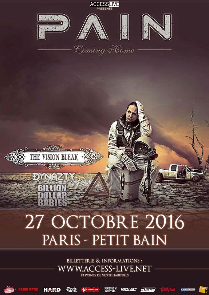 Pain + The Vision Bleak + Dynazty + Billion Dollar Babies @ Petit Bain (Paris), le 27 Octobre 2016
