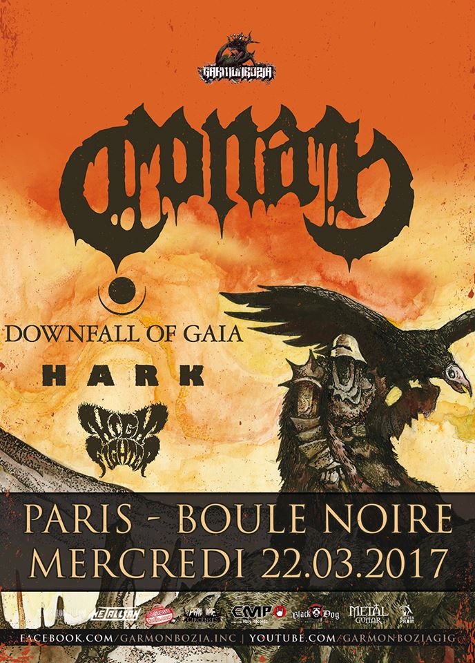 Conan + Downfall Of Gaia + Hark @ Boule Noire (Paris), le 22 Mars 2017