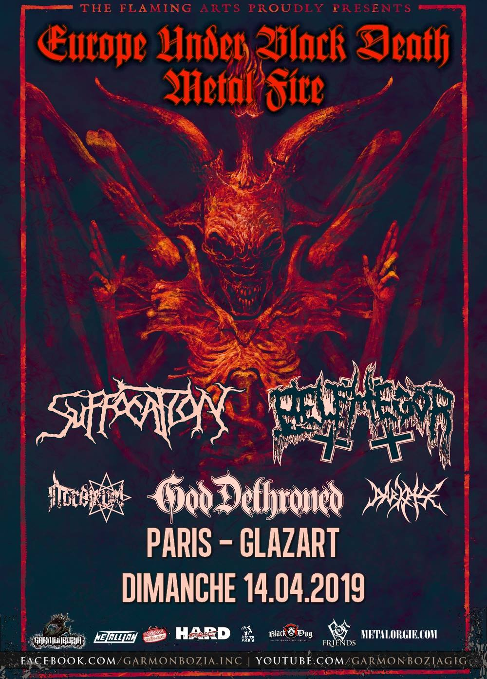 Suffocation + Belphegor + God Dethroned + Nordjevel @ Glazart (Paris), le 14 Avril 2019