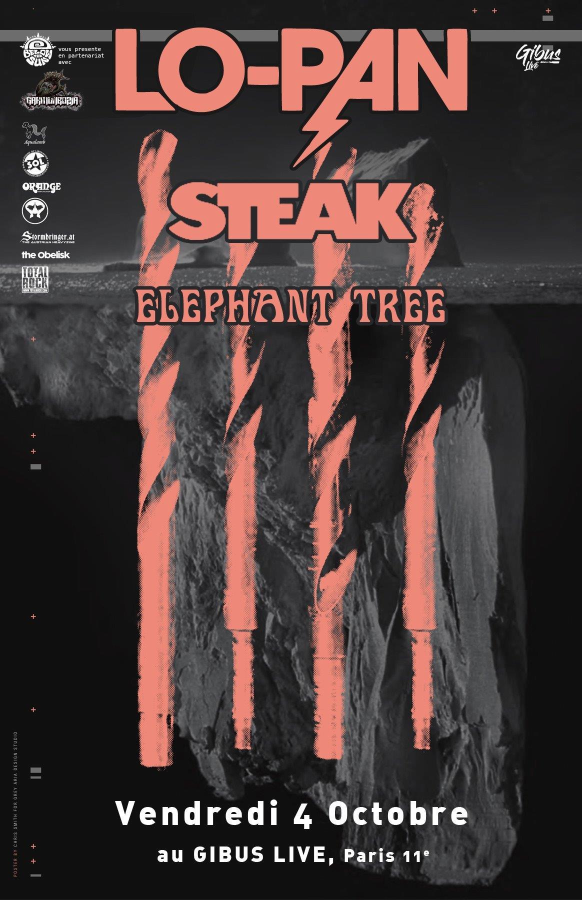 Lo-Pan + Steak + Elephant Tree @ Gibus (Paris), le 4 Octobre 2019